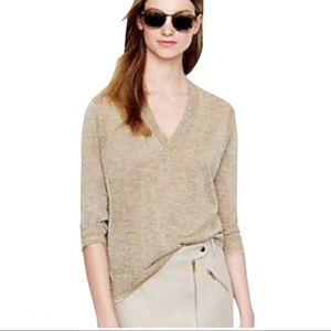 J. Crew Glitter Like Gold V-Neck Sweater Size L